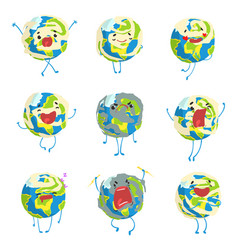 cute funny planet earth emoji showing different vector image vector image