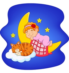 Cute little girl with cat sleeping on the moon vector