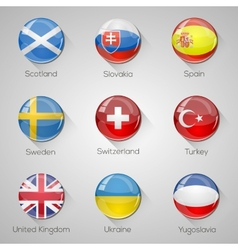 European flags set glossy buttons vector image