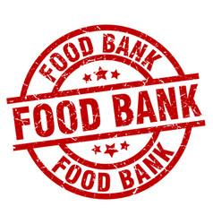 Food bank round red grunge stamp vector