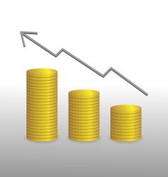 Golden coins and diagram vector
