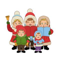 Group of people chorus singing christmas songs vector