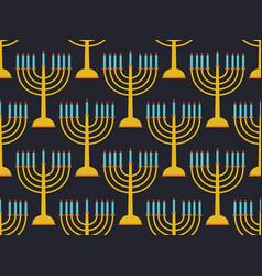 hanukkah seamless pattern candlestick with nine vector image
