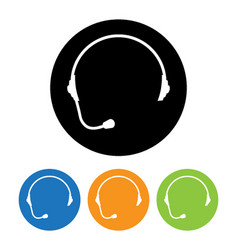 headphone round icons set of support flat style vector image vector image