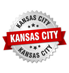 Kansas city round silver badge with red ribbon vector
