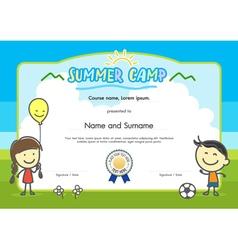 Kids summer camp certificate document template vector