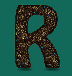 Letter r with golden floral decor vector