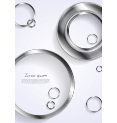 Metallic circles on white background vector