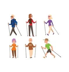 Nordic walking sport people vector