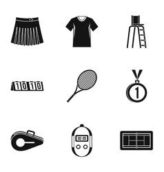Play in tennis icons set simple style vector