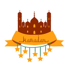 Ramadan kareem greeting card with arabic vector