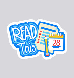Read this sticker social media network message vector