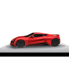 Red sport car - polygon style vector