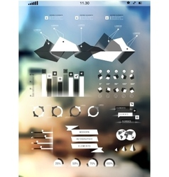 Set elements of infographics on blur background vector image