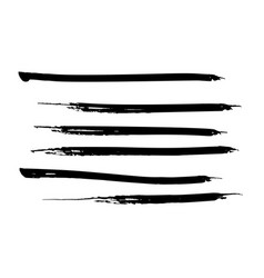 Set of black watercolor paint ink brush strokes vector