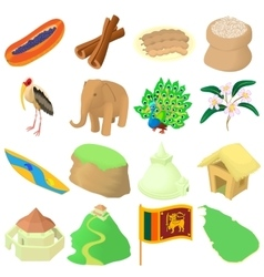 Sri lanka icons set cartoon style vector image