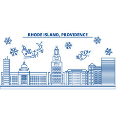 usa rhode island providence winter city skyline vector image