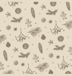 Vintage handdrawn christmas pattern vector