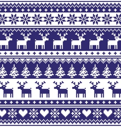 Winter Nordic seamless navy blue pattern vector image vector image