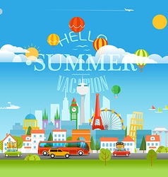 Vacation travelling concept with logo hello summer vector