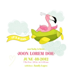 Baby shower card - baby flamingo girl on plane vector
