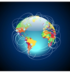 Worldwide connections colorful vector
