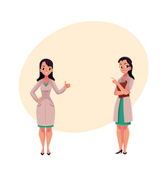 Two woman doctors in medical coats thumb up vector