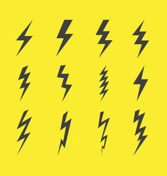 Lightning design flat icons set vector