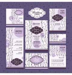 Set of wedding cards vector
