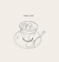 Picolo latte hot coffee sketch vector