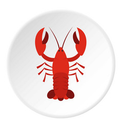 Red crayfish icon circle vector