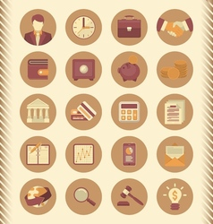Financial and business icons brown set vector