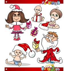 Christmas children and babies cartoon set vector