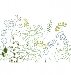 Seamless background with stylized flowers vector