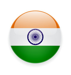 Round icon with flag of india vector