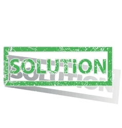 Green outlined solution stamp vector