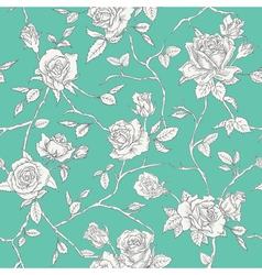 Floral roses background - seamless vintage pattern vector