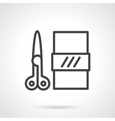 Scissors and paper black line icon vector