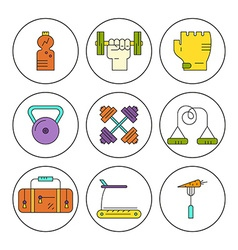 Bodybuilding icons vector