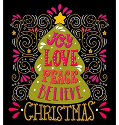 Christmas hand lettering vector image