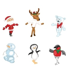 Santa and traditional christmas characters on vector