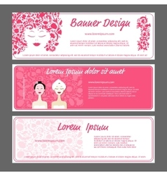 Banner template beautiful female face vector