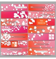 Set of modern banners white paper hearts vector