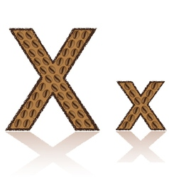 Letter x is made grains of coffee isolated on whit vector