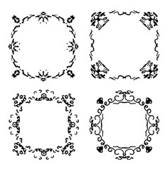 Set of four abstract hand drawn frames vector