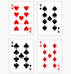 Playing cards showing nines from each suit vector