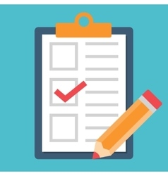 Checklist with tick and pencil icon vector