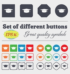 Graduation cap icon sign big set of colorful vector
