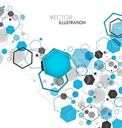 Abstract geometric blue hexagon background vector image