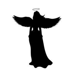 angel silhouette christmas religious christian vector image